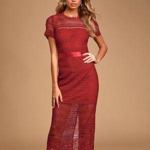 Lulus crochet lace burgundy maxi dress